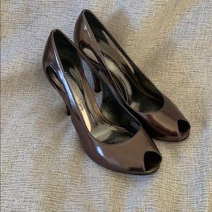 Antonio Melani Metallic Leather Peeptoe Pumps, 6